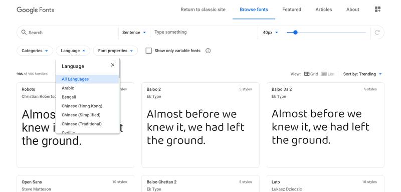 Google fonts screenshot, filter language