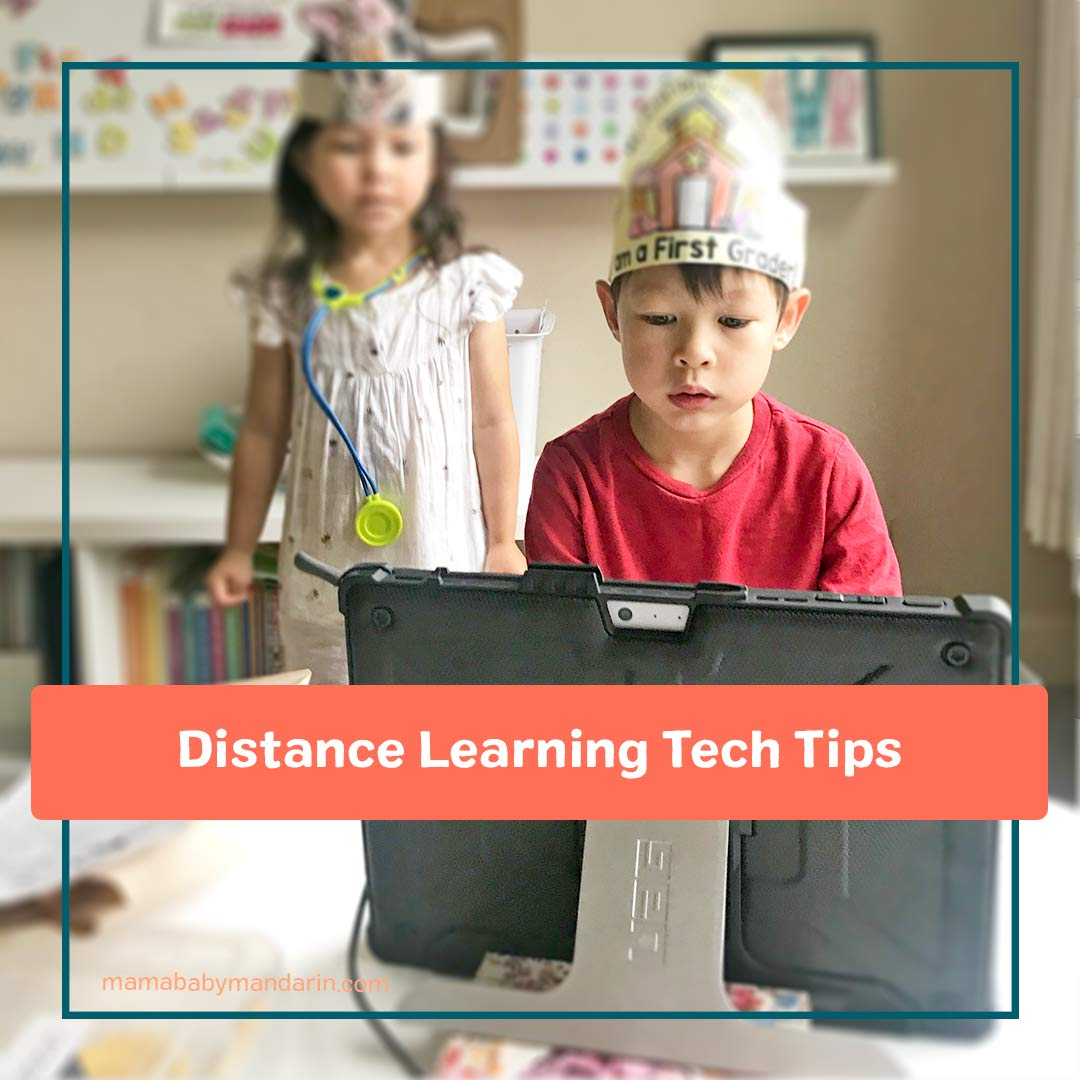 "child in front of laptop with text ""distance learning tech tips"""