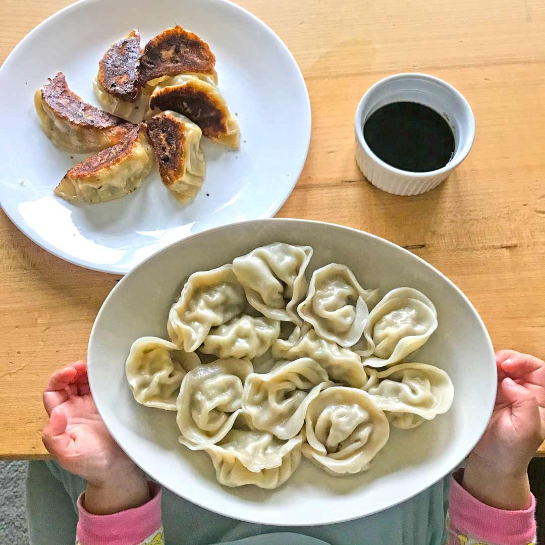 plates of boiled dumplings and potstickers