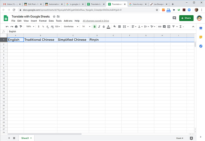 Google Sheets translate to Chinese
