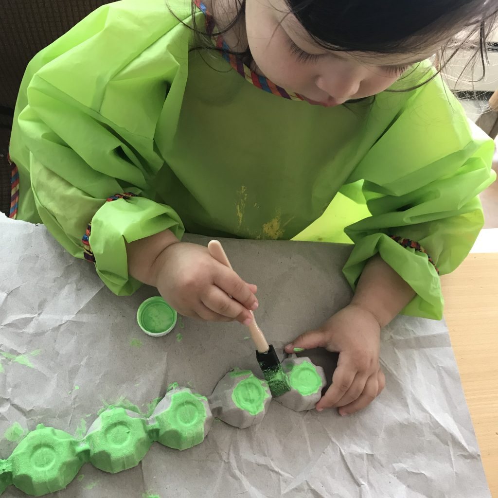 Painting egg carton caterpillar