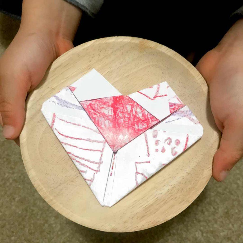 heart folded note