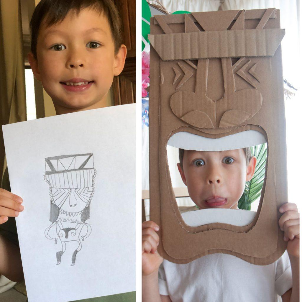 side-by-side photo of boy holding sketch of tiki mask