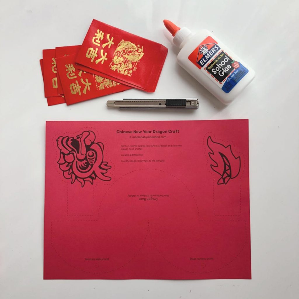 supplies and template for Chinese New Year dragon decoration made out of red envelopes