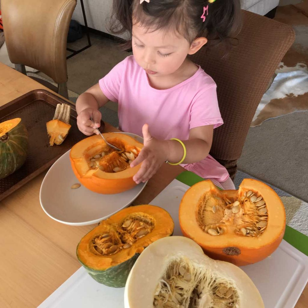 Best pumpkin for pie - Scooping pumpkin seeds