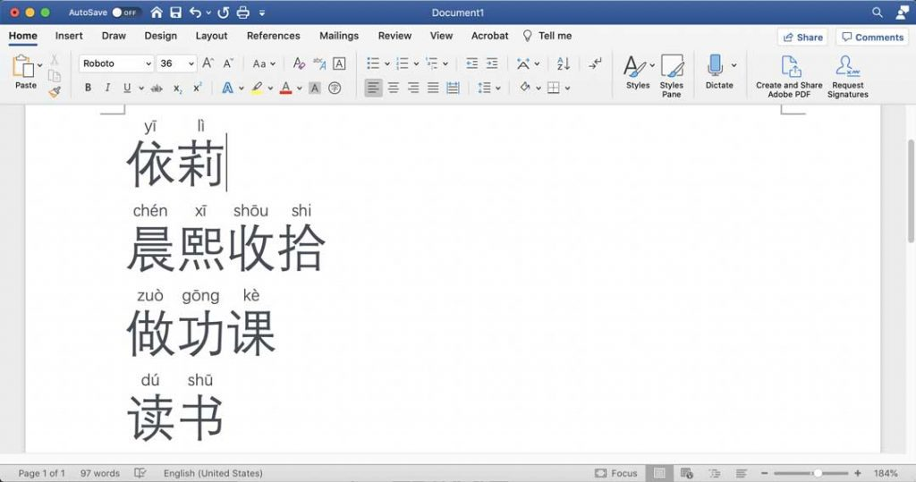 How to Add Pinyin in Microsoft Word, step 6